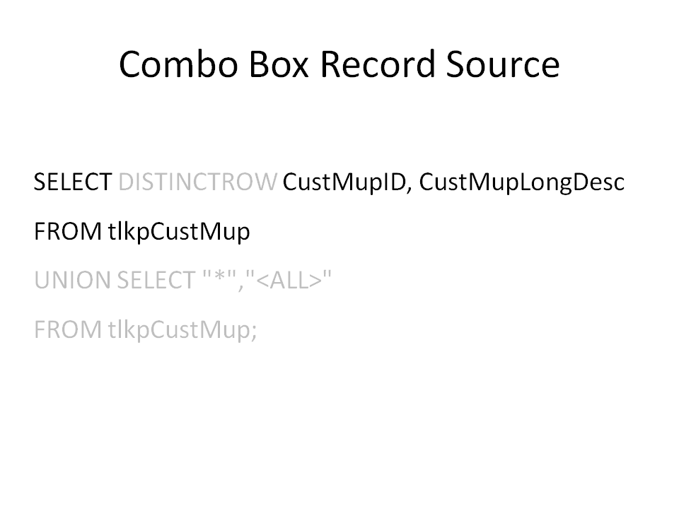 Combo Filter < All> or Some - Nifty Access